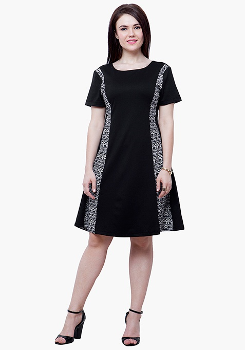 CURVE Aztec Panel Skater Dress