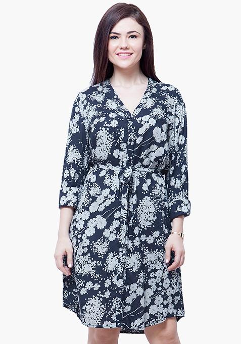 CURVE Midi Shirt Dress - Floral