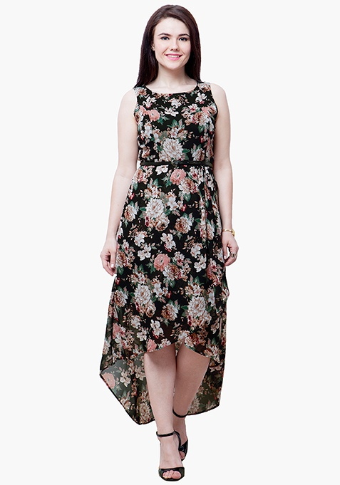 CURVE HiLo Dress - Dark Floral