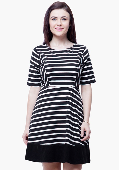 CURVE Stripe Skater Dress - Black