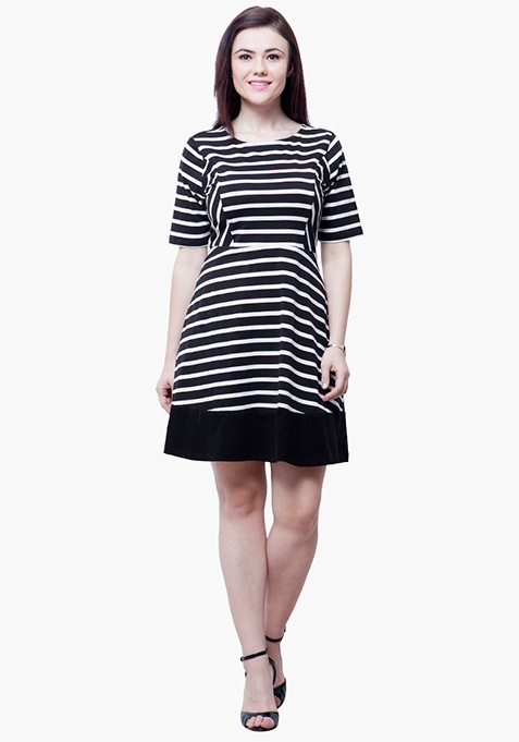 CURVE Stripe Skater Dress - Black