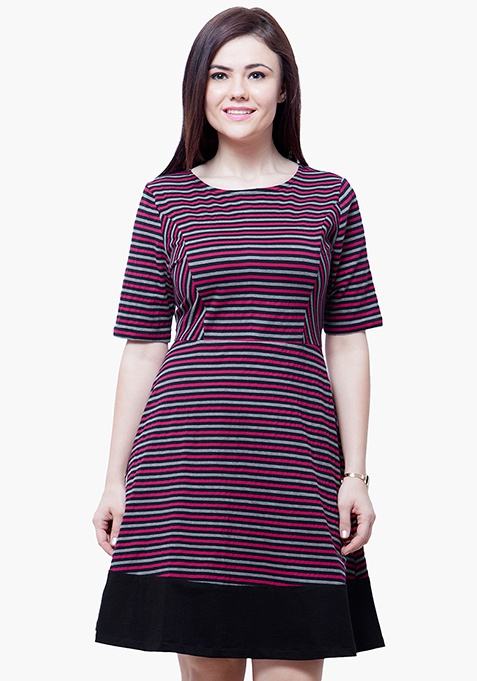 CURVE Stripe Skater Dress - Pink
