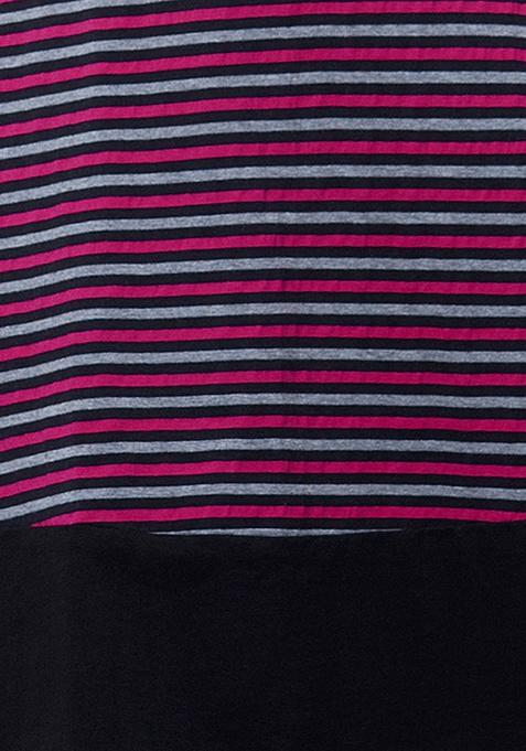 CURVE Stripe Skater Dress - Pink