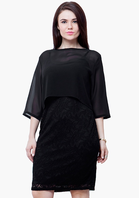 CURVE Sheer Poncho Lace Dress - Black