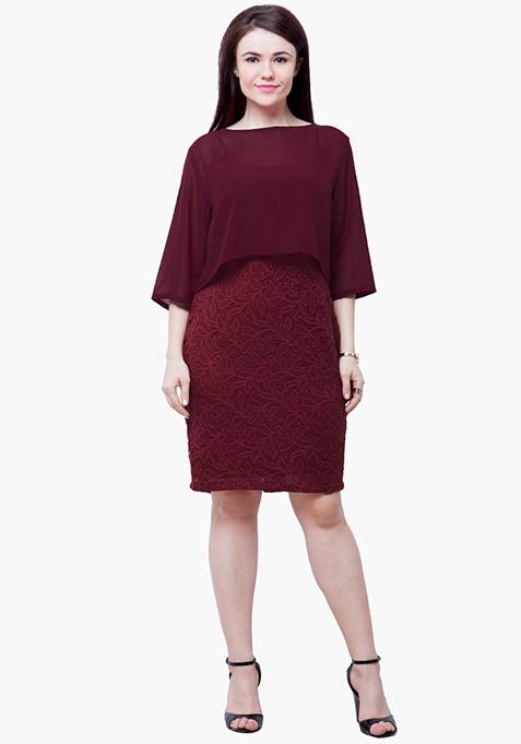 CURVE Sheer Poncho Lace Dress - Oxblood