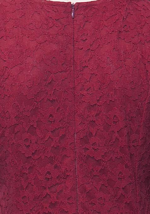CURVE Lace Midi Dress - Oxblood