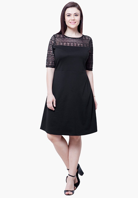 CURVE Lace Up Midi Dress - Black