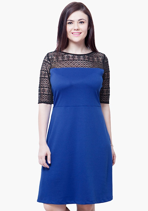 CURVE Lace Up Midi Dress - Blue