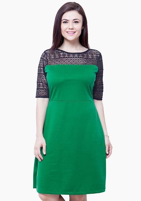 CURVE Lace Up Midi Dress - Green