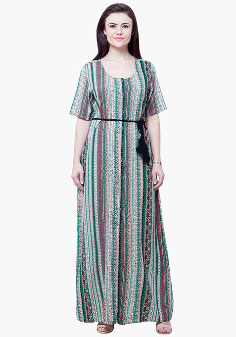 CURVE Maxi Shirt Dress - Aztec