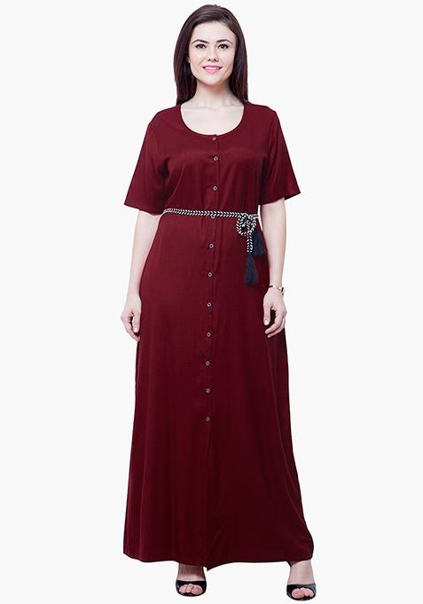 CURVE Maxi Shirt Dress - Oxblood