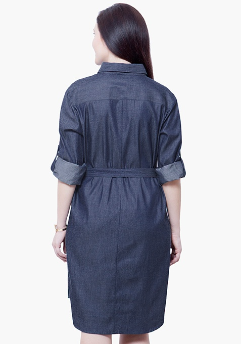 CURVE Chambray Midi Dress - Dark