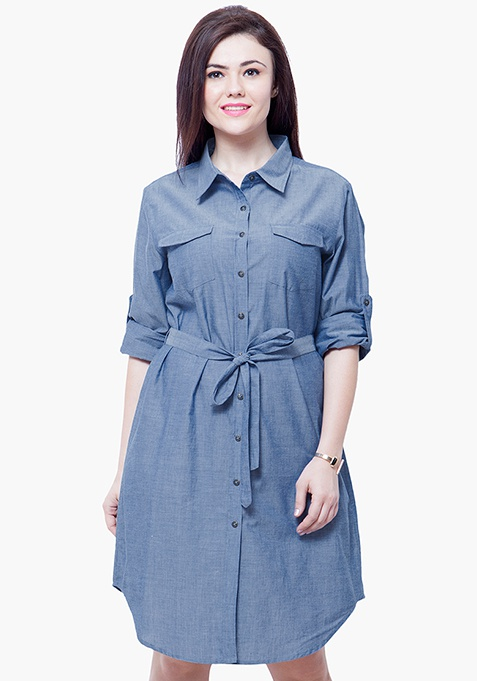 CURVE Chambray Midi Dress - Light