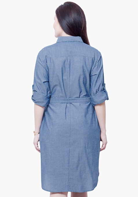 CURVE Chambray Midi Dress - Light