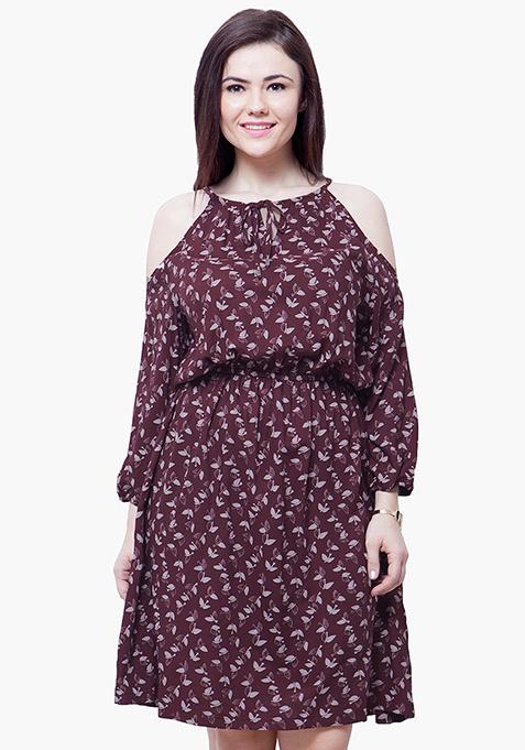 CURVE Cold Shoulder Midi Dress - Oxblood