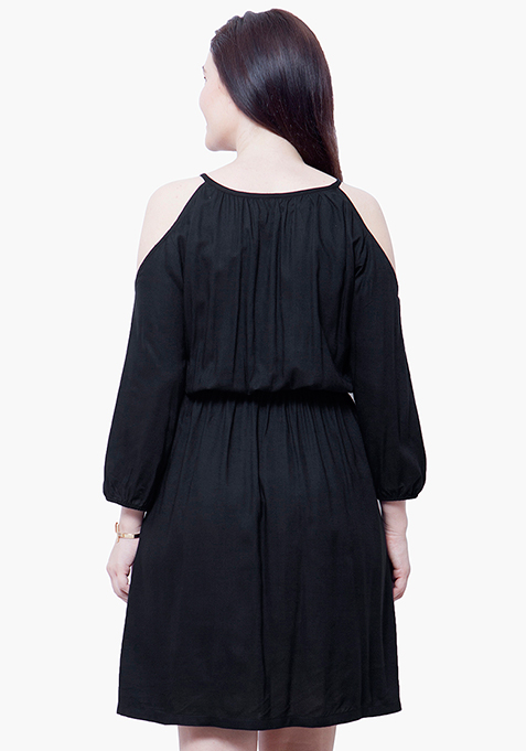 CURVE Cold Shoulder Midi Dress - Black