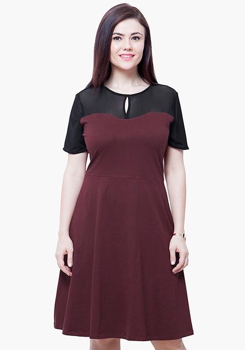 CURVE Mesh Up Midi Dress - Oxblood