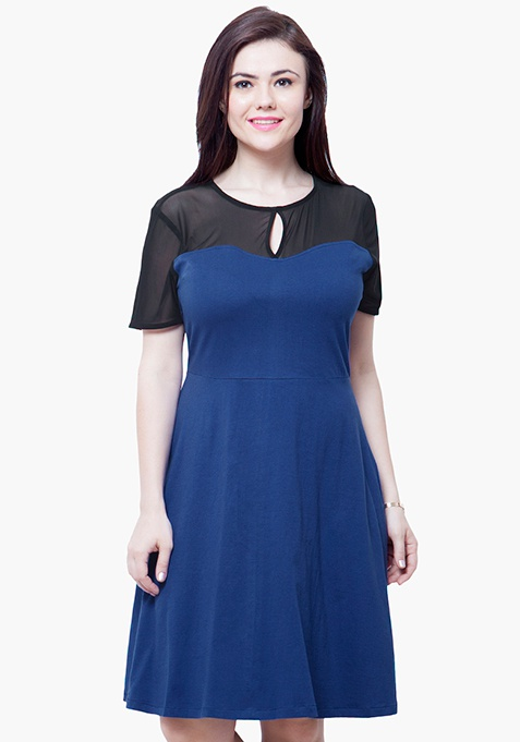 CURVE Mesh Up Midi Dress - Blue