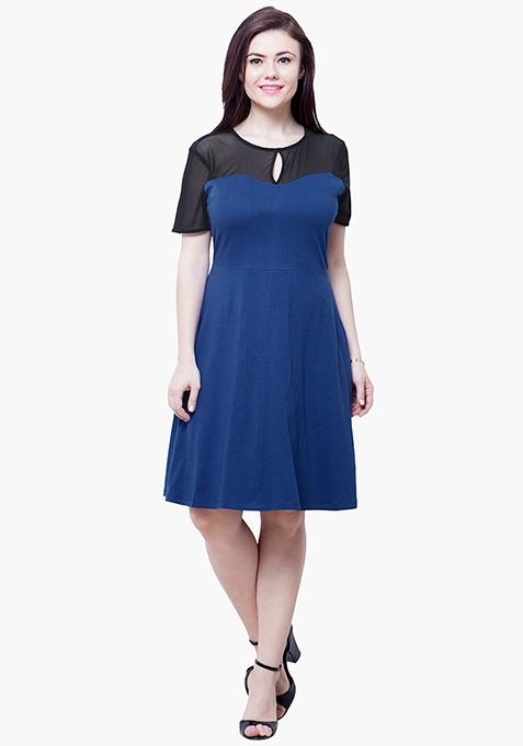 CURVE Mesh Up Midi Dress - Blue