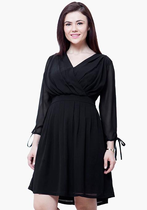 CURVE Draped Skater Dress - Black