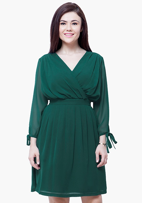 CURVE Draped Skater Dress - Green