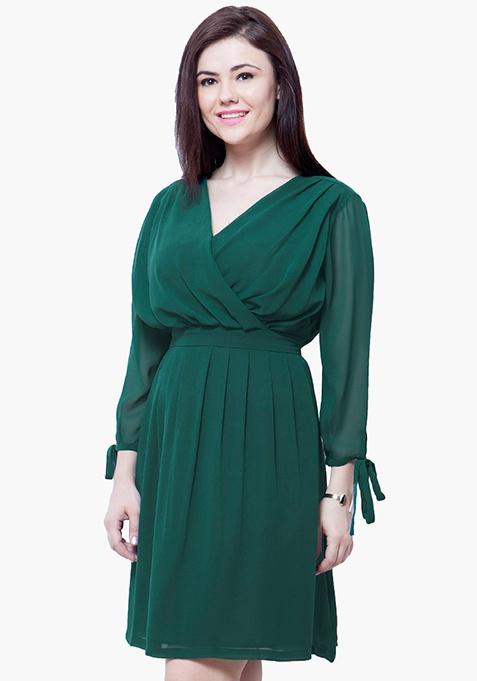 CURVE Draped Skater Dress - Green