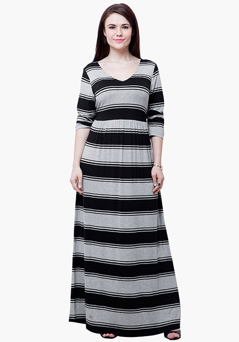 CURVE Striped Jersey Maxi Dress - Grey