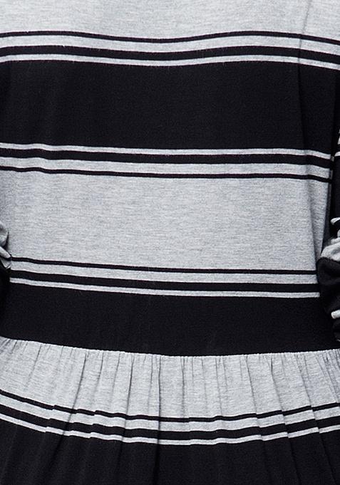 CURVE Striped Jersey Maxi Dress - Grey