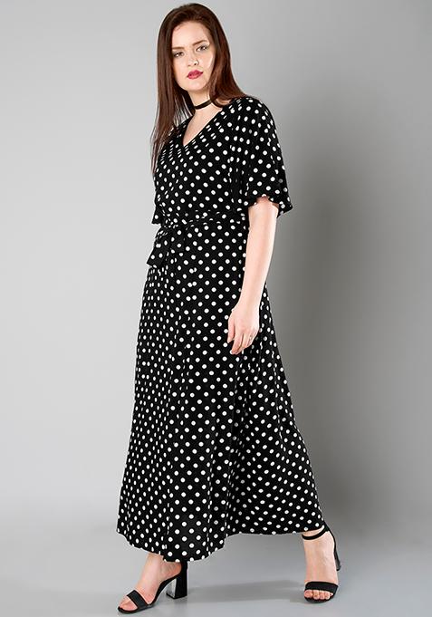 CURVE V-Neck Maxi Dress - Polka