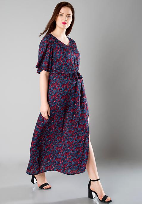 CURVE V-Neck Maxi Dress - Blue
