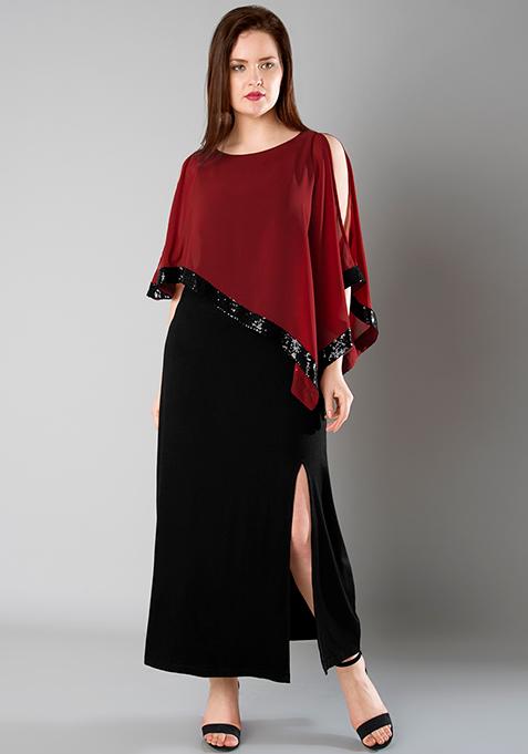 CURVE Cape Sequin Maxi Dress - Oxblood