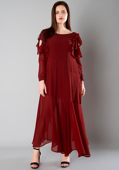 CURVE Ruffled Sleeve Maxi Dress - Oxblood