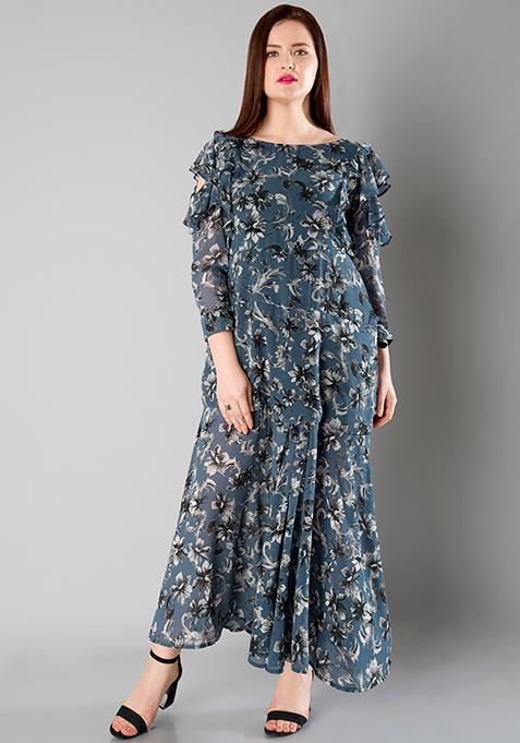 CURVE Ruffled Sleeve Maxi Dress - Blue Floral