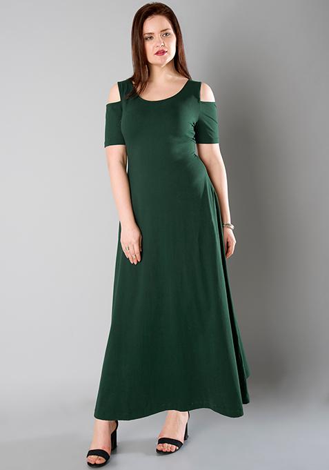 CURVE Cold Shoulder Maxi Dress - Green