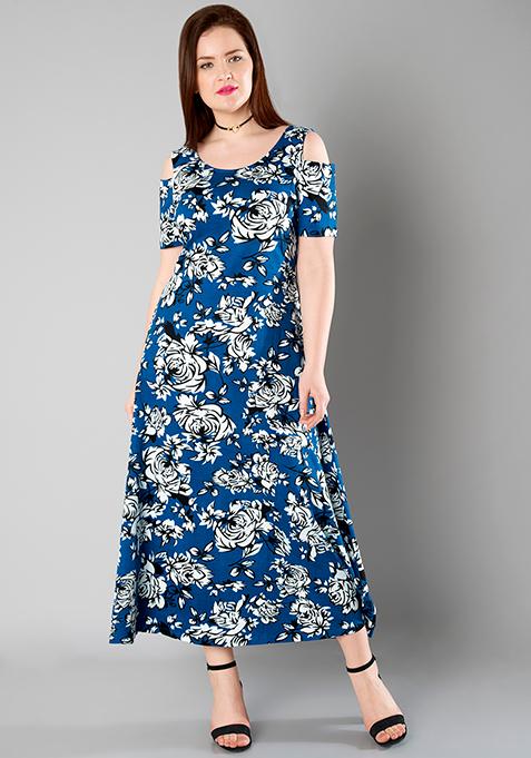 CURVE Cold Shoulder Maxi Dress - Floral