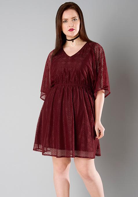 CURVE Kimono Sleeve Lace Dress - Oxblood