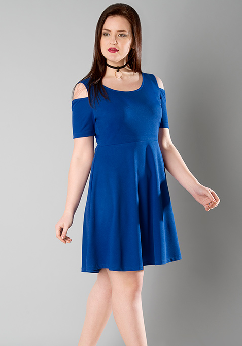 CURVE Cold Shoulder Skater Dress - Blue