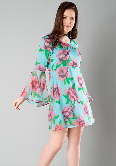 CURVE Bell Sleeve Skater Dress - Floral