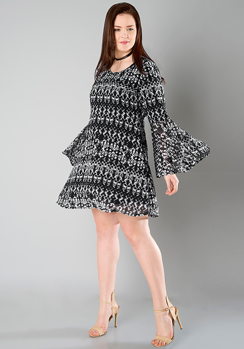 CURVE Bell Sleeve Skater Dress - Aztec