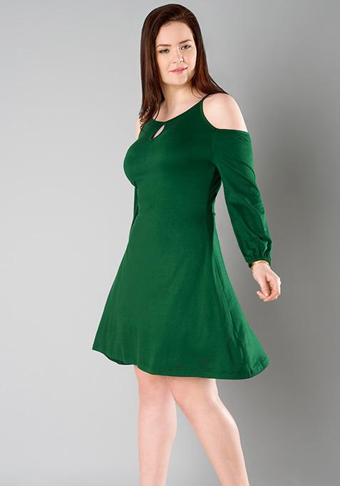 CURVE Keyhole Cold Shoulder Dress - Green