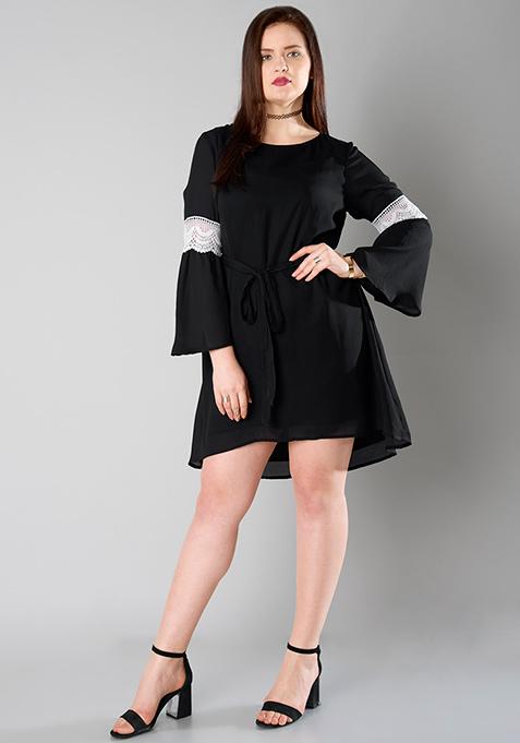 CURVE Lace Insert Tie Front Dress - Black