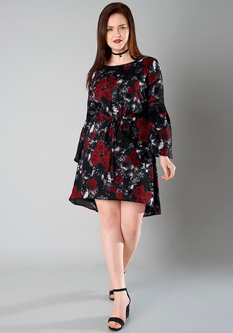 CURVE Lace Insert Tie Front Dress - Floral