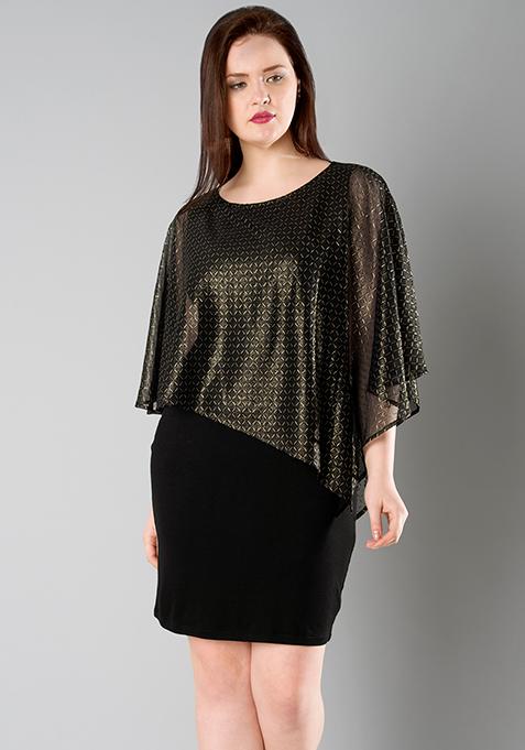 CURVE Cape Bodycon Dress - Gold