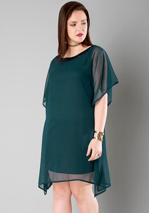 CURVE Teal Sequined Kaftan Dress