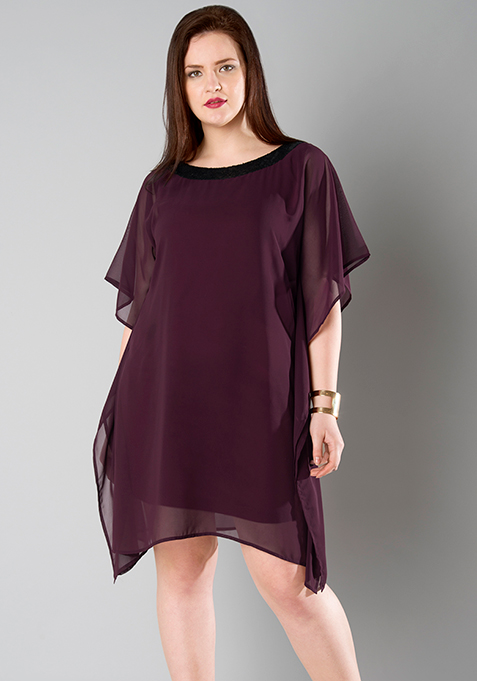 CURVE Wine Sequined Kaftan Dress