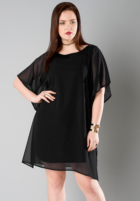 CURVE Black Sequined Kaftan Dress