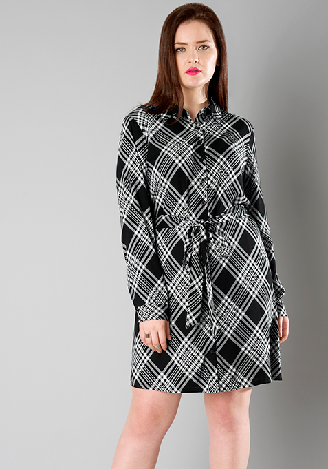 CURVE Black Tartan Belted Shirt Dress