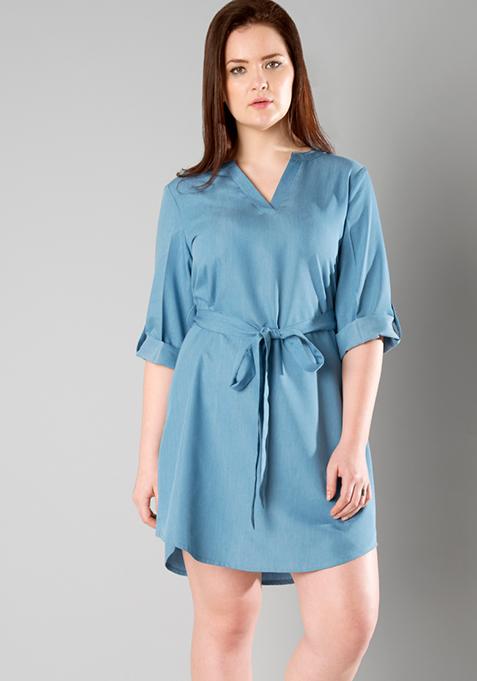 CURVE Belted Light Denim Dress