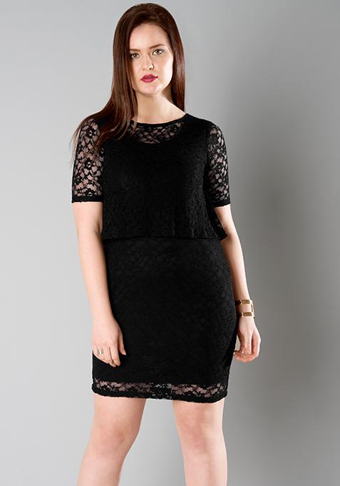 CURVE Black Lace Layered Dress