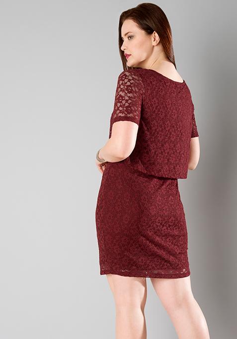 Oxblood lace dress